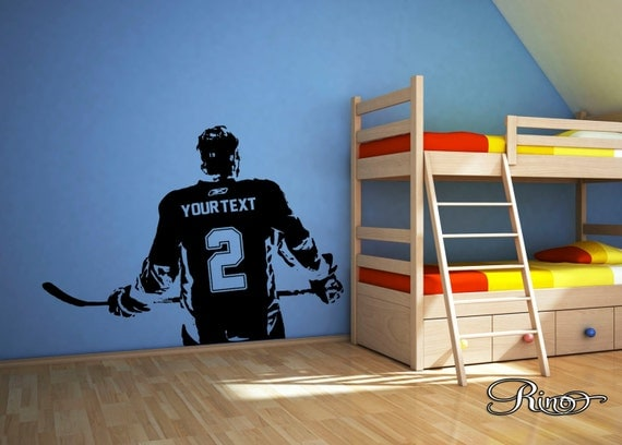 Wall art custom large ice hockey player choose jersey name for Sports decals for kids rooms