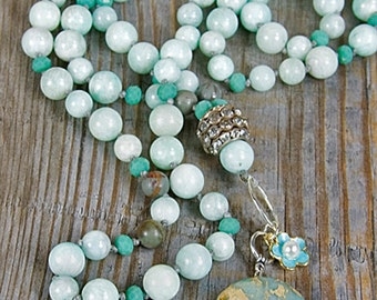 long necklace, robins egg necklace, amazonite gemstones, hand knotted, blue necklace, silver  necklace, Opal pendant, African opal, blue