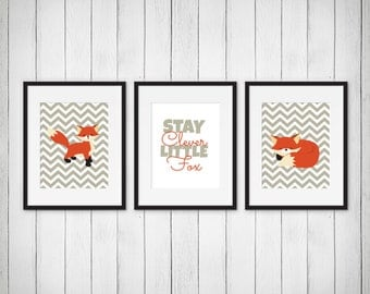 Fox Nursery Prints - Stay Clever Little Fox Print - Baby Boy or Girl Nursery Prints - Fox Room Decor - Clever Fox Typography - Set of 3