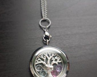 Mom Floating Locket Necklace-Add Crystal Birthstones-Mother's Day-Gift Idea for Mothers