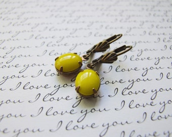 Vintage Glass Earrings, Bright Yellow Dangle Earrings, Antique Brass Summer Spring Earrings