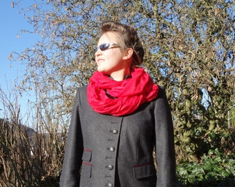 RED INFINITY SCARF - viscose scarf - women accessories scarves - fashion - boho street style - soft cosy circle scarves - loop scarf