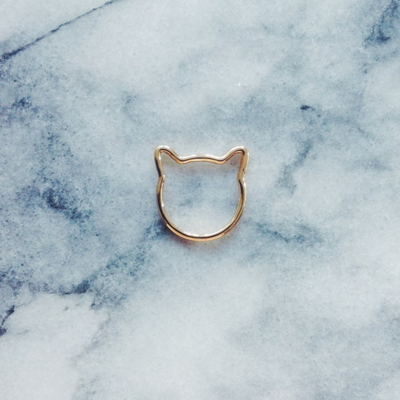 Gold Cat Ring - Cat Jewelry, Gold Ring, Simple Ring, Minimalist Ring, Everyday Ring