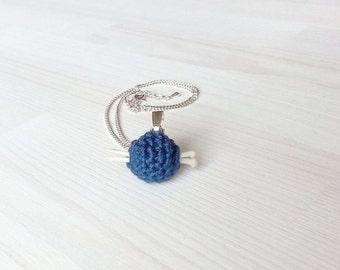 Mini ball of yarn with mini knitting needles, gift for knitterin, pendant, jewelry