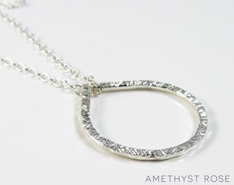 Hammered Teardrop Pendant ~ Sterling Silver Pendant Necklace ~ Contemporary Jewellery