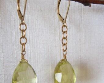 Lemon Quartz 14K Gold Filled Handmade Earrings