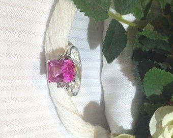 Sparkling Pink and White Sapphire Ring ~ 925 Sterling Silver ~ Size 7.5