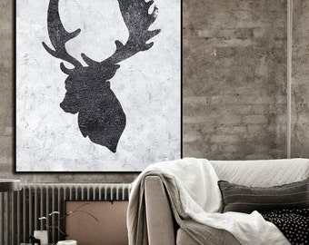 Large Abstract Painting, Hand Made Painting Minimalist Art, Abstract Art On Canvas, Modern Art. Black And White Reindeer.