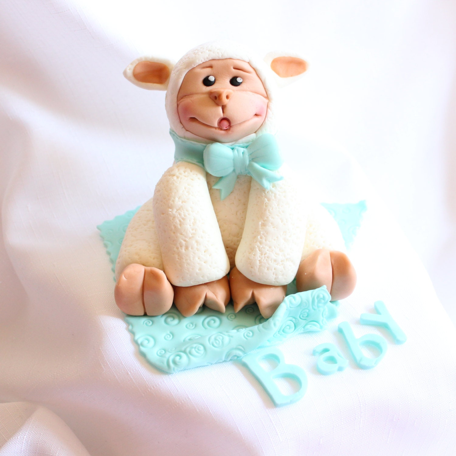 fondant sheep baby shower cake topper lamb on a blanket edible