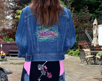 Junior Jean Jacket (L), Dream, - from our CARAUT-ALTERED collection of upcycled denim clothing
