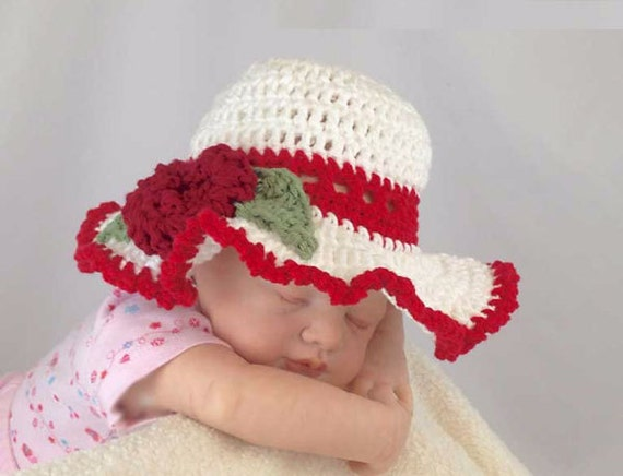 Outlander Baby Sun Hat Red White Newborn to 3 months Mandy Bonnet Photo Prop Crocheted Diana Gabaldon FREE SHIPPING