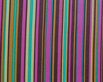 Colorful Striped Fabric, Michael Miller Play Stripe CX3137, Norwegian Woods.  Brown, Fuchsia, Aqua, Citron, Striped Quilt Fabric, Cotton