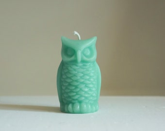 """Beeswax Owl Candle, Turquoise Blue, Animal Candle, Bird Candle, Customized, Handmade in USA, Custom Color Candle, Size 3 1/4"""" x 2"""""""