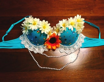 Teal Lace Daisy Rave Bra