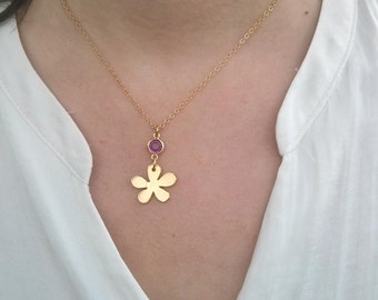 Flower Necklace. Gold necklace.Every Day Necklace. goldfield chain. gift for her. Flower