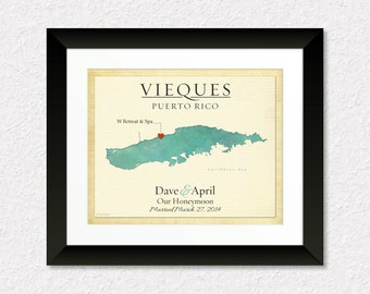 Custom Wedding Gift, Anniversary Present,  Map of Vieques Puerto Rico, Gift for Couple, Travel Map, Gift for Spouse, Travel Journal