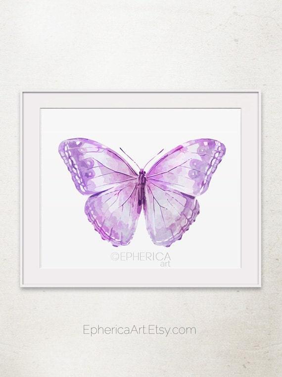 Lavender Purple Butterfly Art Print Butterfly Wall By