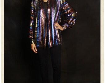 DISCO 70s albert capraro METALLIC striped long sleeve button up blouse top shirt med
