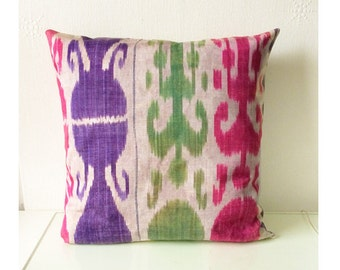 Purple Pink Green Ikat Abstract Print Cushion Throw Pillow Cover 16x16 or 18x18 inches