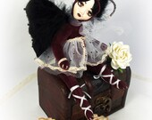 Art doll - Teddy doll - Clay soft doll - Mixed media doll - OOAK handmade - Collectible doll - Dark doll - 8 inch (19 cm) Brown Butterfly