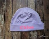 Beanie Purple Personalized Newborn Hat