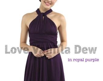 Bridesmaid Dress Infinity Dress Royal Purple Straight Hem Knee Length Wrap Convertible Dress Wedding Dress