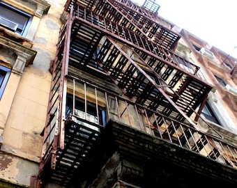 Urban Wall Art / New York City Canvas Wall Art - Chelsea Art - Urban Scene of Fire Escape in Chelsea New York City - Art