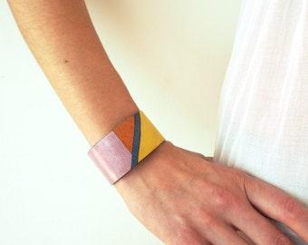 Leanto: Modern Laser Cut Leather Mosaic Cuff Bracelet
