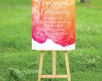 The LAUREN . Unplugged Wedding Ceremony Sign . PRINT or PDF, Shipping Included. Calligraphy Watercolor.  Magenta Orange Yellow Sunset Beach
