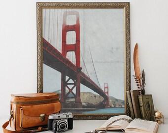 Vintage Art Golden Gate Bridge / Printable / San Francisco / Vintage Poster / Wall Art / Instant Download