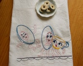 Vintage Hand Embroidered Dish Towel, Anthropomorphic Teacup and Saucers - Flour Sack Fabric, Cottage Kitchen Decor