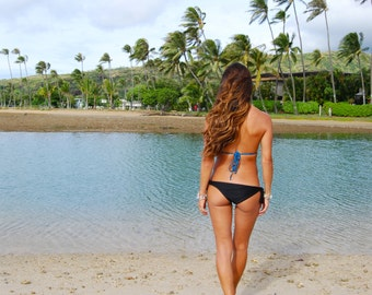 More Colors! 'Wainohia' Tie Side Bikini Bottoms Moderately-Cheeky Swimsuit Bottoms Handmade in Hawaii