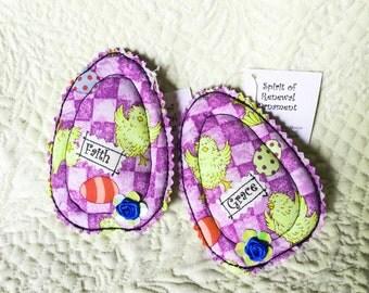 Easter Ornament, egg ornament, fiber art egg, spring ornament, spring décor, Easter tree,  fabric egg bowl filler, spring décor, set of 2 #1