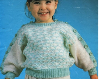 "Vintage baby childs sweater knitting pattern PDF girls dolman sleeve jumper pattern slash neck 20-24"" DK light worsted 8ply instant download"