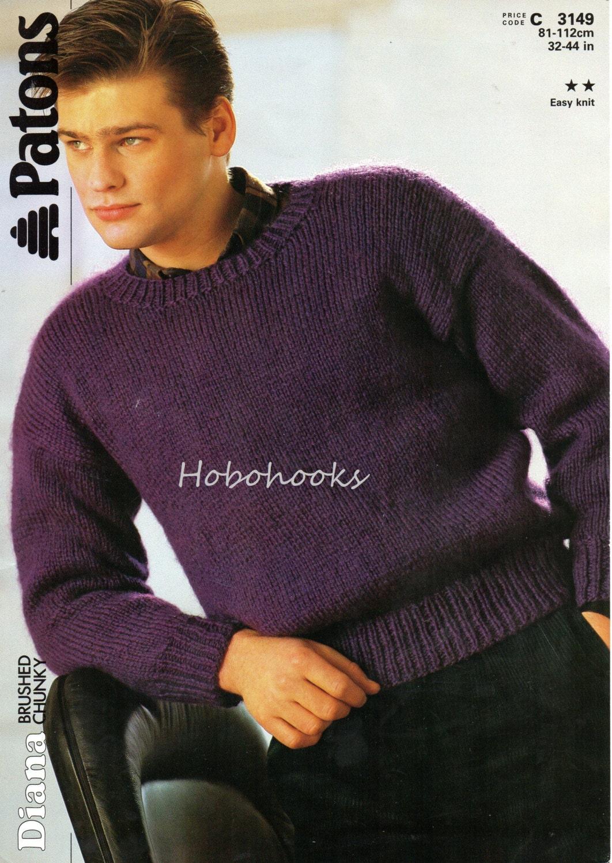 Mens Knitting Pattern mens sweater mens jumper chunky sweater
