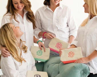 Set of Nine Monogrammed Makeup Bags, Bridesmaids Gifts, Canvas Zipper Pouches Available in Coral, Hot Pink, Mint Green, Navy or Black Trim