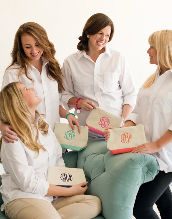 Set of Five Monogrammed Makeup Bags, Bridesmaids Gifts, Canvas Zipper Pouches Available in Coral, Hot Pink, Mint, Navy Blue or Black Trim