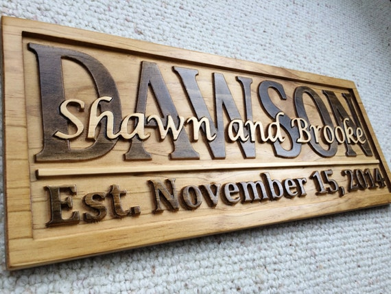 Wedding Gift Name Sign : Name Signs Wedding Gift Last Name Established Sign Custom Wood Sign ...