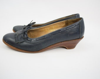 Vintage 70's Navy Blue Wedges / Loafer Style / Wooden Heels / Women's Size 6