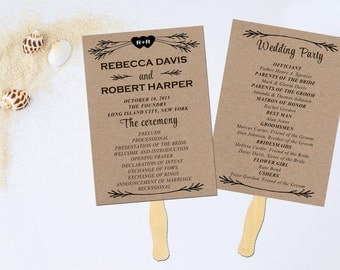 Wedding Program Fan Printable Programs