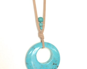 Long turquoise pendant necklace, long turquoise statement necklace, turquoise boho necklace
