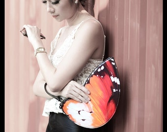 Orange Butterfly Clutch Bag