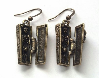 Antiqued Gold Coffin and Skeleton Earrings - Day of the Dead Earrings -Halloween Earrings - Hinged Coffin Earrings - Epsteam