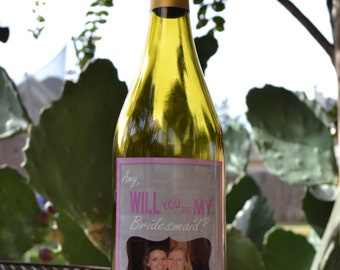 Will You Be My Bridesmaid Wine Label, Wedding Wine Label, Custom Wine Label, Wine Label for Bridesmaids