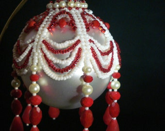 Red and White Hand Beaded Globe Christmas Ornament