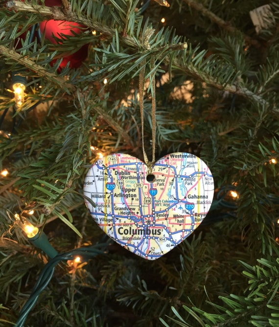 Columbus Ohio State Map Ornament