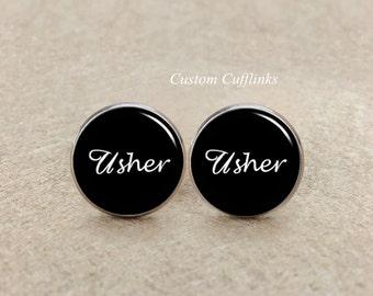 Usher Cufflinks, Wedding cufflinks, Black Suit Accessories for Weddings,usher cufflink,usher wedding cufflinks, gifts for usher,custom gifts