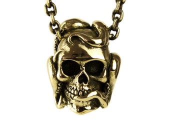 Octopus Tentacle Anatomic Human Skull Necklace Jewelry Golden Tone Bronze Pendant Gothic Steampunk - FPE011