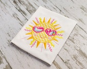 Shining Summer Sun Appliqué Embroidery Design 5x7, 6x10, 9x9