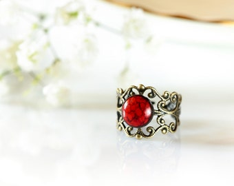 Red ring ceramic ring Red band ring Vintage style ring Cute hippie ring Steampunk ring Filigree ring Brass ring Handmade rings Adjustable